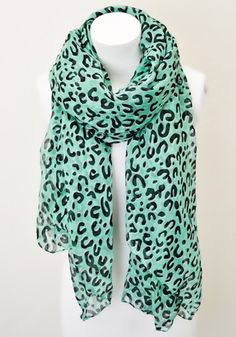 Leopard Print Scarf: Mint [KSF-2075] - $14.99 : Spotted Moth, Chic and sweet clothing and accessories for women