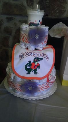 Florida Gator Diaper Cake  so sweet! Great idea for a baby shower Perfect baby shower gift for my Gator Fans @Donna DAlessandro  and @Kristin Howard