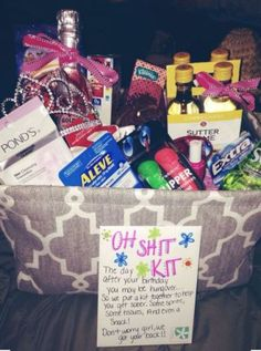 20 Awesome Birthday Care Packages For Any College Student - Society19 21st Birthday Gifts For Best Friends, Diy Gifts 21st Birthday, 21st Birthday Basket For Girls, Birthday Gift Baskets, Presents For Best Friends, Best Friend Birthday Basket, Birthday Gift For Boss, Funny Birthday, 20th Birthday Presents