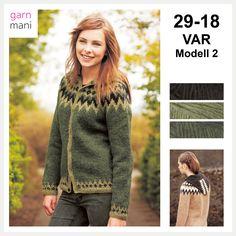 29-18 VAR - Modell 2 - Garnmani.no - Spesialist på islandsk ull Ravelry, 18th, Pullover, Sweaters, Scrapbooking, Black, Fashion, Scale Model, Moda