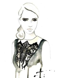 Laced  Fashion Illustration Watercolor Painting by KelseyMDesigns