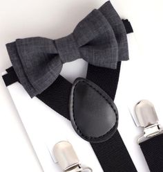 Dark Grey Chambray Bow Tie & Black Suspenders - Oh Baby, Monochrome Grey Suspenders, Boys Tuxedo, Ring Bearer Outfit, Groom Ties, Toddler Photos, Boys Bow Ties, Grey Outfit, Black Tie, Chambray