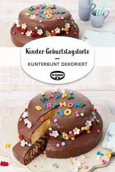 Children& birthday cake - Kunterbunte Kinder-Rezepte - Kinder-Geburtstagstorte Children& birthday cake: two-tier cake made of zebra cake, lemon cake and chocolate icing with flowers and chocolate letters for children celebrate birthday - Chocolate Letters, Chocolate Icing, Zebra Cakes, Cookie Recipes, Dessert Recipes, Two Tier Cake, Coconut Macaroons, Yellow Cake Mixes, Food Cakes