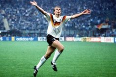 Jürgen Klinsmann celebrating his goal in the 1990 World Cup Round of 16 against the Netherlands, two years after the Dutch beat West Germany in the EURO final. Germany won the game and eventually the competition. Kids Soccer, Football Soccer, Philipp Lahm, Xavi Hernandez, Paolo Maldini, World Cup Winners, International Football, Cycling Quotes, Beats By Dre