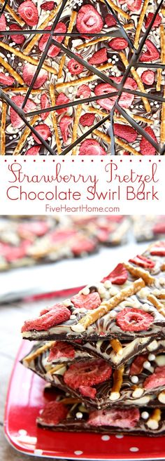 Strawberry Pretzel Chocolate Swirl Bark ~ semi-sweet and white chocolate, salty pretzels, tart strawberries, and festive sprinkles combine in this fun and tasty homemade candy!   FiveHeartHome.com