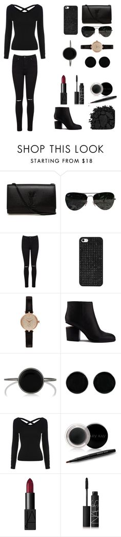 """""""Lady in black"""" by abecic ❤ liked on Polyvore featuring Yves Saint Laurent, Ray-Ban, Miss Selfridge, BaubleBar, Barbour, Alexander Wang, Isabel Marant, AeraVida, Mary Kay and NARS Cosmetics"""