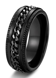 LEEYA Stainless Steel Rings for Men Engagement Wedding Band Chain Ring, Size Silver) – Fine Jewelry & Collectibles Fashion Bracelets, Fashion Jewelry, Cool Rings For Men, Men Rings, Biker Rings, Stainless Steel Jewelry, Chains For Men, Men's Accessories, Dream Ring