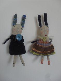 Maggie and Mim  a pair of Rabbit dolls  Folk Art  one by maidolls, £32.00