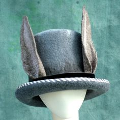 Rabbit Ears Top Hat- Hand Felted Merino- Wool- Bunny- Stripes-... ($145) ❤ liked on Polyvore featuring accessories, hats, gray hat, grey hat, top hat, merino wool hat and merino hat