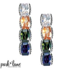 """Outstanding Earrings: Deep, rich gemstone color gems make Outstanding ensemble a standout! Large clear CZs alternate with simulated amethyst, golden topaz and  green peridot CZs, each nestled in its silver box setting. Four gems fashion the dramatic earrings. In a word, this ensemble is """"OUTSTANDING""""! Pierced earrings are post-style. #weddingjewelry #bridal #ParkLaneJewelry"""