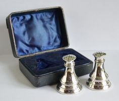 English silver pepper and salt shaker set - Birmingham - 1910