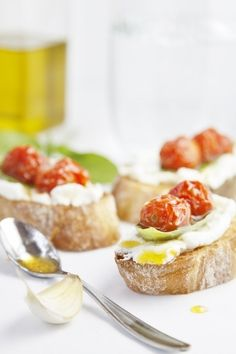Roasted Cherry Tomato and Ricotta Crostini