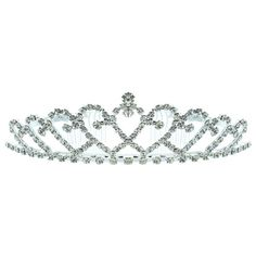 Kate Marie 'kandi' Rhinestones Crown Tiara Headband in ($35) ❤ liked on Polyvore featuring accessories, hair accessories, jewelry & watches, silver, rhinestone hair accessories, headband crown, rhinestone headband, sparkly headbands and tiara headband