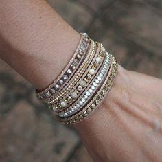 Gold mix wrap bracelet Boho bracelet Bohemian by G2Fdesign on Etsy