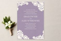 lilac Lace and Kraft Wedding Invitations