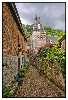 Medieval street - Durbuy, Luxembourg, Wallonia, Belgium.