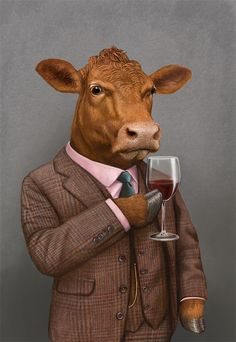Hanger Steak by Bob Venables Arte Peculiar, Arte Van Gogh, Cow Painting, Cow Art, Animal Heads, Weird Art, Surreal Art, Animes Wallpapers, Animal Paintings
