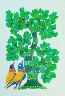 Birds Under The Tree 3 traditional art by Choti Gond Artist | ArtZolo.com