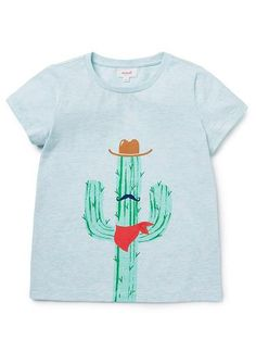 100% Cotton Jersey short sleeve tee featuring large scale cactus print on front.