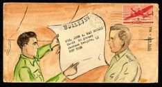 While stationed in the Pacific Theater in the 1940s, Jack Fogarty wrote letters to his best friend's wife in Queens, NY, and illustrated the envelopes. All photos courtesy of the National Postal Museum