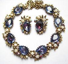 Signed Art © Floral Vine Large Blue Violet Shimmering Necklace & Earrings Set