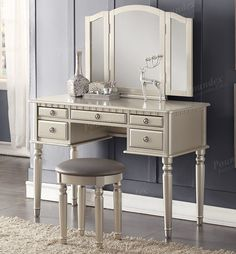Vanity Table Shop - Christine Silver Makeup Vanity Table Set, $339.00 (http://www.vanitytableshop.com/christine-silver-makeup-vanity-table-set/)