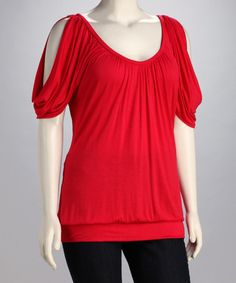 Take a look at this Red Cutout Top - Plus by GLAM on #zulily today!