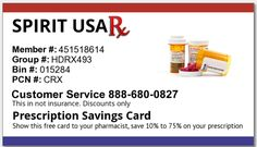 Spirit USA Rx Print free Pharmacy Savings Card. Uninsurred? Underinsured? High Deductible Health Plan? High Co-Pay for Prescriptions? This Card may help you save on your next prescription purchase. Go to www.spiritusarx.com to print an active card today!