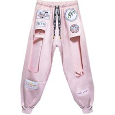 HOLE SWEATPANTS ($225) ❤ liked on Polyvore featuring activewear, activewear pants, pants, bottoms, performances, trousers, pink sweat pants, pink sweatpants, gold sweat pants and sweat pants