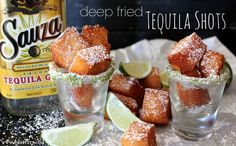 Deep Fried Tequila Shots! (sponge cake/angel food cake, tequila, oil for frying, powdered sugar for dusting)