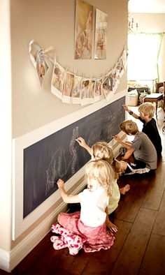 Kids Chalkboard Art Wall~How to turn a textured wall into a .- Kids Chalkboard Art Wall~How to turn a textured wall into a smooth wall kids writing on chalkboard wall. Great use of a hallway. Hang kids art and maybe backpacks on top - Kids Chalkboard, Chalkboard Writing, Chalkboard Walls, Magnetic Chalkboard, Chalkboard Wall Playroom, Chalkboard Drawings, Chalkboard Lettering, Black Chalkboard, Casa Pop