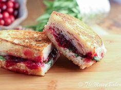 Turkey & Cranberry Panini with Tarragon Goat Cheese Aioli using Thanksgiving leftovers {www.themessybakerblog.com}