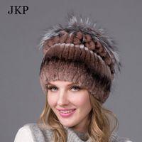 4 Farben Frauen echte Nerz Fell Winter Prinzessin Hut Mütze mit Fuchspelz-Trim