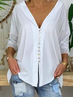 Button Up Casual Solid Lace Sleeves Polyester V-Neck Blouses, veryvoga Casual Tops For Women, Blouses For Women, Top Online Clothing Stores, Blouse Jaune, Blouse Outfit, Mode Outfits, Casual T Shirts, Casual Sweaters, Lace Tops