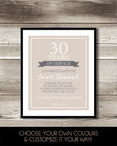 30 year work anniversary print 30th work by forevadesign on etsy