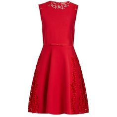 Giambattista Valli Lace-insert sleeveless mini dress (€2.315) ❤ liked on Polyvore featuring dresses, short red dress, knit wrap dress, red mini dress, sleeveless dress and fit and flare dress
