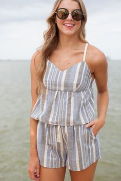 Chambray Striped Co-Ord Shorts