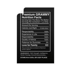 """Premium Grammy Nutrition Facts Label."" Wall Decals"