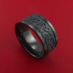Black Zirconium Celtic Band Trinity Symbolic Wedding Infinity Ring Custom Made - Stonebrook Jewelry  - 1