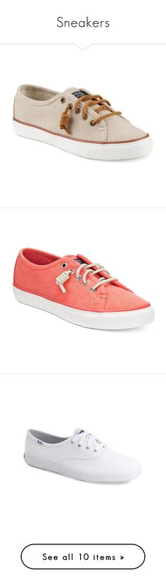 """""""Sneakers"""" by magnifiquereine ❤ liked on Polyvore featuring shoes, sneakers, natural wax canvas, preppy shoes, sperry sneakers, sperry shoes, canvas sneakers, sperry footwear, wax canvas orange and orange sneakers"""
