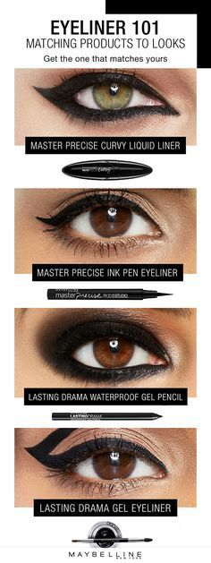 This is the ultimate eyeliner beauty guide for makeup beginners. This eyeliner 101 matches the liner products you need to get your desired liner look, whether is be a smokey eye or natural cat eye. Click through for more inspiration from Maybelline.