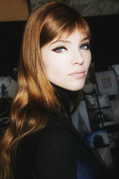 Sasha Luss backstage at Salvatore Ferragamo, fall 2013.