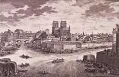 L'île de la Cité dans le passé Paris Map, Old Paris, Vintage Paris, Paris France, Old Pictures, Old Photos, Notre Dame France, Ile Saint Louis, Chelsea London