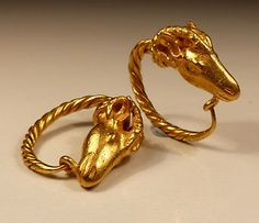 Roman gold rams head earrings, circa century B. Ancient Jewelry, Antique Jewelry, Gold Jewelry, Jewelery, Ancient Rome, Ancient Art, Objets Antiques, Roman Jewelry, Historical Artifacts