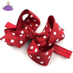 Need a Disney baby shower gift or Minnie Mouse Christmas Gift for baby? This Minnie inspired bow is just right.  Our baby red polka dot baby bow headband, available personalized with an embroidered monogram is available in two sizes and two headband options.  These monogrammed baby headbands are the perfect personalized gift for baby girl.  Our bow headbands are crafted out of quality Made in the USA ribbon that is slightly twisted for that beautiful shape that stays full when worn. Christmas Accessories, Girls Accessories, Big Hair Bows, Christmas Hair Bows, Boutique Hair Bows, Elastic Headbands, Baby Bows, Polka Dots, Ribbon