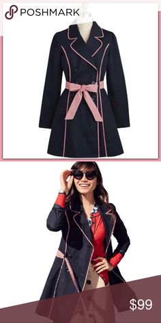 NWOT ModCloth East Coach Tour Trenchcoat ➖NWOT ➖BRAND: ModCloth ➖SIZE: Medium ➖STYLE: A navy blue trenchcoat with red and white plaid trimming along with a belted part.   ❌ NO TRADE   Entropycat Modcloth Jackets & Coats Trench Coats