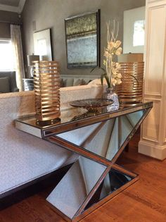 This submission is from The Decorator's Edge of one of our mirrored consoles behind a sofa. Mirrored Sofa Table, Console Table, Living Room Mirrors, Submission, Consoles, Entryway Tables, Contemporary, Interior Design, Inspiration