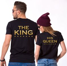 King Queen Stars Print, with stars, Matching Couples Shirts. Royal king and queen couple shirts to match your personality! Get yours now!