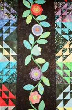 Quilt Midnight Garden handmade applique