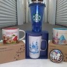 STARBUCKS DISNEYLAND MULTI-MUG PACKAGE DEAL w/(4) Popular DISNEY MUGS